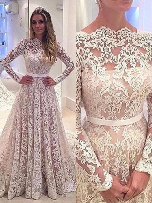 Stylish Bateau Lace A-Line Wedding Dresses Long Sleeves Court Train Bridal Gowns Online