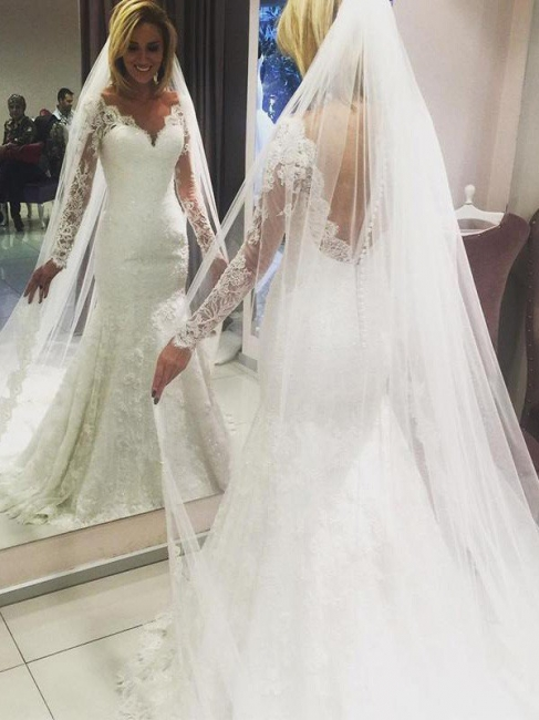 Gorgeous Sweep Train V-neck Long Sleeves Lace Column Wedding Dresses   Bridal Gowns Online