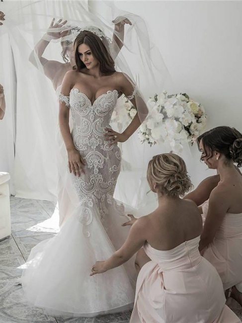 Glamorous Off-the-Shoulder Tulle Chapel Train Sleeveless Mermaid Wedding Dresses | Bridal Gowns On Sale