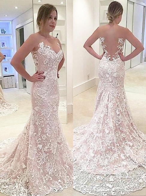 Glamorous Sweetheart Mermaid Lace Wedding Dresses Strapless Sleeveless Bridal Gowns with Sweep Train
