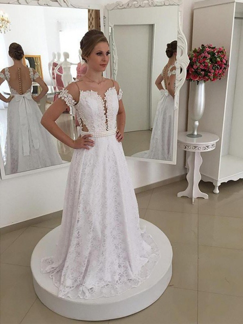 Elegant Sweep Train Scoop Lace Short Sleeves Wedding Dresses | Bridal Gowns On Sale