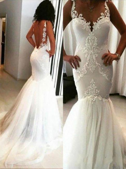 Unique Sleeveless Chapel Train Tulle Wedding Dresses Spaghetti Straps Applique Mermaid | Bridal Gowns On Sale