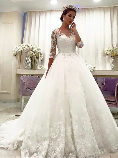Glamorous Ball Gown Bateau Lace Tulle White Wedding Dresses 3/4 Sleeves Court Train Appliques Bridal Gowns Online