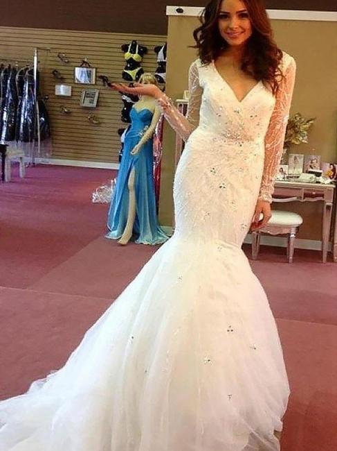 Glamorous V-Neck Mermaid Beaded Tulle Wedding Dresses Long-Sleeves Rhinestones Bridal Gowns On Sale