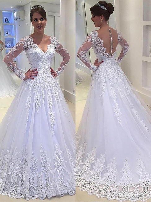 Gorgeous Tulle V-neck Court Train Long Sleeves Applique Wedding Dresses | Bridal Gowns On Sale