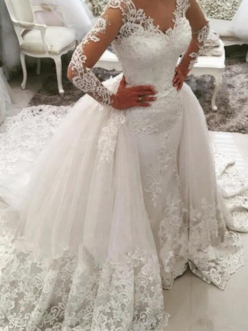 Alluring V-Neck Tulle Lace Mermaid Wedding Dresses Long-Sleeves Appliques Bridal Gowns with Overskirt