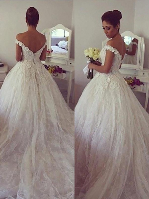 Gorgeous Ball Gown Off-the-Shoulder Lace Wedding Dresses Sweetheart Appliques Bridal Gowns with Court Train