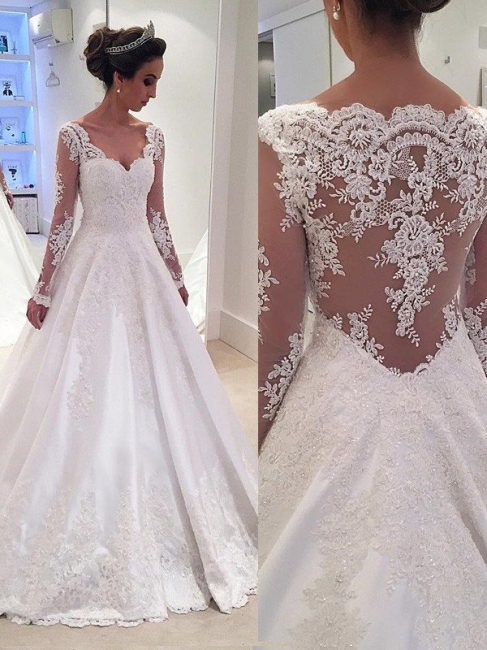 Stylish V-neck Court Train Puffy Lace Satin Wedding Dresses Long Sleeves | Bridal Gowns On Sale