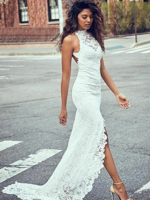 Gorgeous Sweep Train Sleeveless Halter Lace Mermaid Wedding Dresses | Bridal Gowns Online