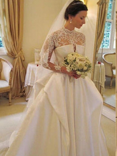 Affordable Puffy Long Sleeves High Neck Chapel Train Satin Lace Wedding Dresses | Bridal Gowns On Sale