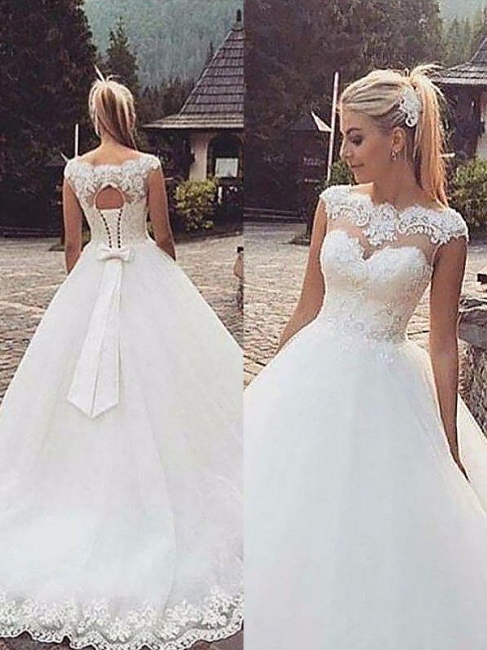 Elegant Tulle Puffy Bateau Lace Sleeveless Wedding Dresses | Bridal Gowns On Sale