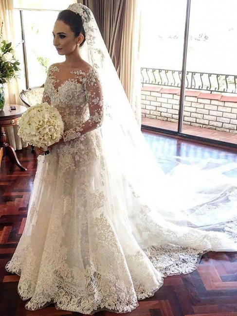 Glamorous Bateau Tulle Lace Long Sleeves Chapel Train Wedding Dresses | Bridal Gowns On Sale