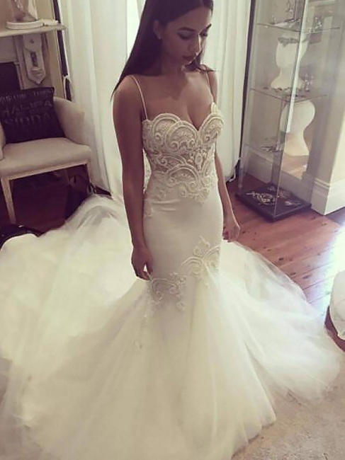Unique Spaghetti Straps Sleeveless Tulle Chapel Train Mermaid Wedding Dresses | Bridal Gowns On Sale