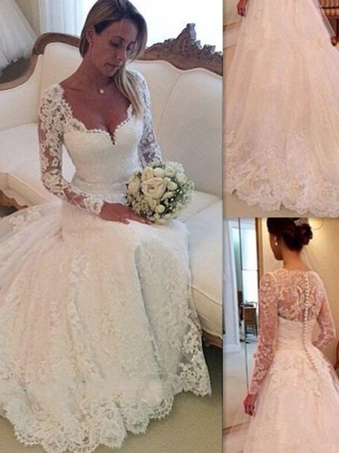 Gorgeous Puffy Long Sleeves Court Train Tulle V-neck Lace Wedding Dresses   Bridal Gowns On Sale