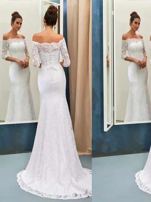 Chic Off-the-Shoulder Lace Mermaid Wedding Dresses Long Sleeves Sweep Train   Bridal Gowns On Sale