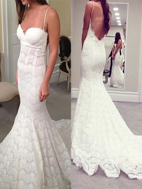 Attractive Spaghetti Straps Mermaid Lace Wedding Dresses Sweetheart Sleeveless Appliques Bridal Gowns On Sale