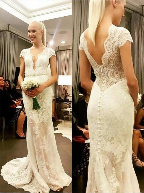 Gorgeous Sweep Train V-neck Column Lace Short Sleeves Wedding Dresses | Bridal Gowns On Sale