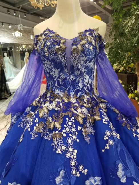 Off-the-Shoulder Long Sleeves Ball Gown Tulle Applique Court Train Prom Dress UK on sale