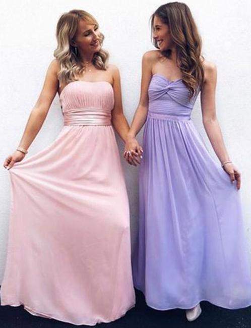 New Flattering Strapless Chiffon Long-Length Pretty Elegant Prom Dress Online | Suzhoudress UK