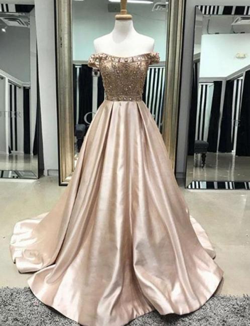 Flattering Beading Off-the-Shoulder with Pocket Long-Length Elegant Prom Dress Online | Suzhoudress UK