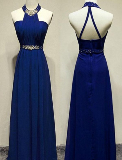 Modern Beading Flattering Sleeveless Long-Length Jewel Elegant Prom Dress Online | Suzhoudress UK