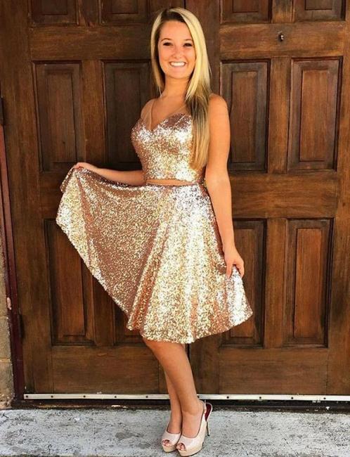 Tank Top Sleeveless Flattering Sequined Trendy V-neck Straps Short Elegant Prom Dress Online | Suzhoudress UK