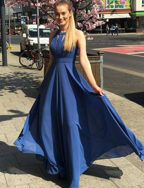 Luxury Flattering Jewel Sleeveless Chiffon Long-Length Elegant Prom Dress Online | Suzhoudress UK