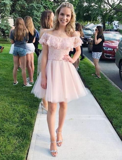 Fashion Tulle Flattering A-line Elegant Lace Off-the-Shoulder Short Homecoming Dress