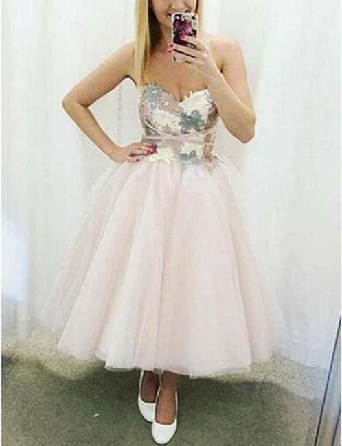 Fashion Tulle Flattering A-line Appliques Different Sweetheart Short Prom Homecoming Dress