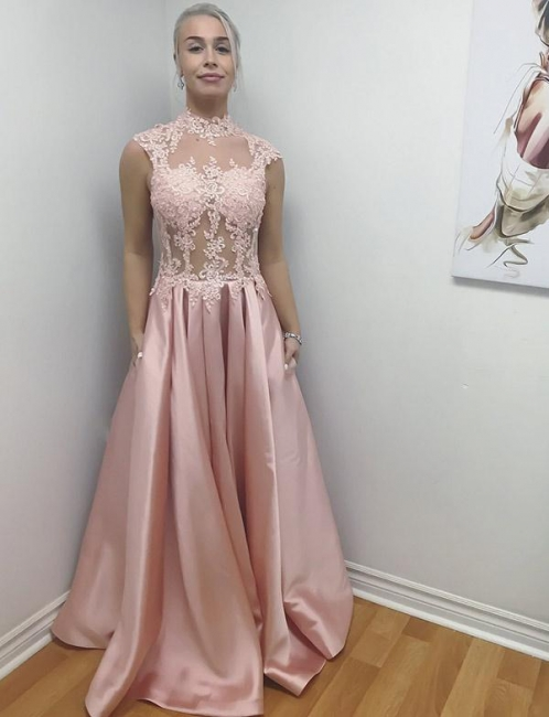 Unique Style High Neck Flattering Sleeveless with Lace Appliques Long-Length Evening Dress | Suzhoudress UK