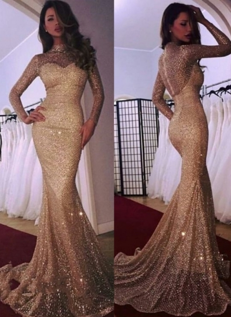 Cheap Mermaid High Neck Long Sleeves Sparkly Sequins Court Train Evening Dresses | Suzhoudress UK