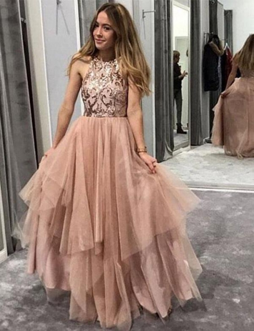 New Soft Tulle Flattering Sparkly Sequins Jewel Sleeveless Long-Length Elegant Prom Dress Online | Suzhoudress UK