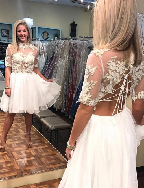 Unique Flattering A-line Appliques High Neck Elegant Lace Short Sleeves Short  Homecoming Dress