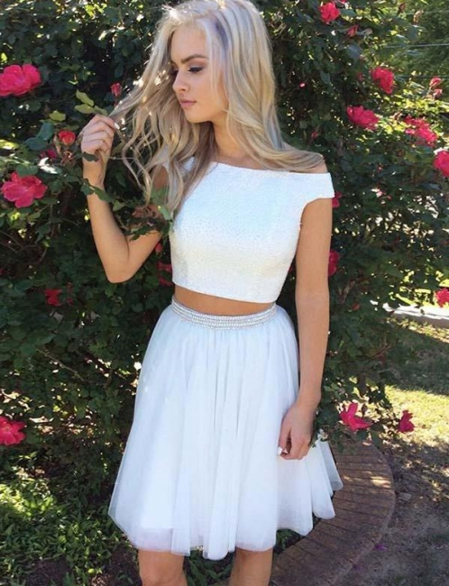 Modern Off-the-Shoulder Two Piece Sparkly Beaded Flattering A-line Short Prom Dress UK on sale