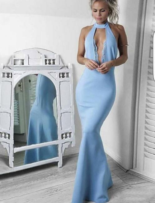 Lace High Neck  Mermaid Long-Length Sleeveless Elegant Prom Dress Online | Suzhoudress UK