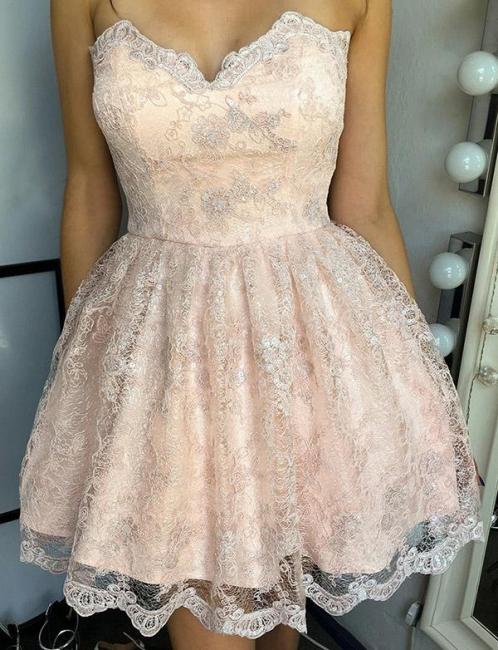 Unique Appliques Flattering A-line Elegant Lace Different Sweetheart Elegant Lace-up Homecoming Dress