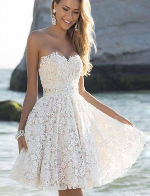 Fashion Different Sweetheart Flattering A-line Elegant Lace Flower Short Prom Homecoming Dress