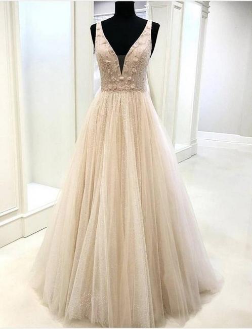 Glamorous Trendy V-neck with Lace Appliques Sleeveless Flattering Soft Tulle Evening Dress   Suzhoudress UK