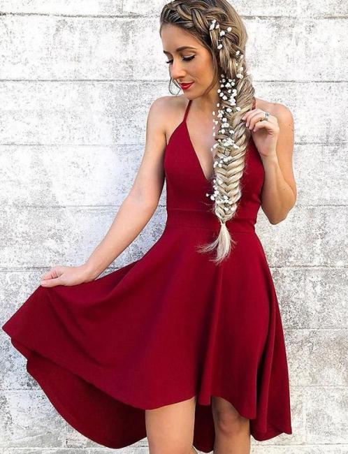 Fashion Flattering A-line Halter V-Neck High Low Prom Dress UK on sale