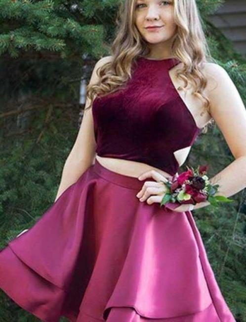 Two Piece Flattering A-line Halter Sleeveless Elegant Lace Short Prom Dress UK on sale