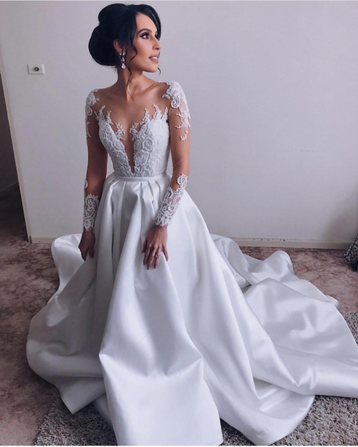 Affordable V-Neck Long Sleeves Lace Appliques Wedding Dress | Bridal Gowns On Sale