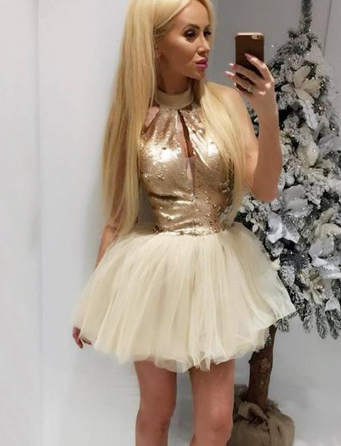 Unique High Neck Flattering A-line Sequins Sleeveless Tulle Short Prom Homecoming Dress