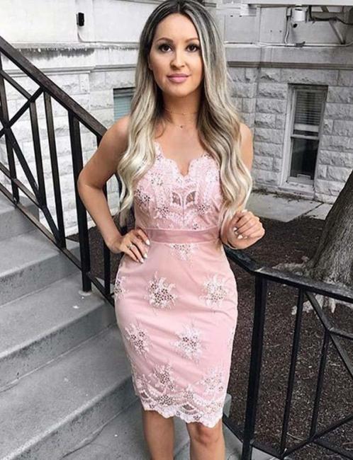 Unique Appliques Spaghetti Straps Fitting Column Short Prom Dress UK on sale