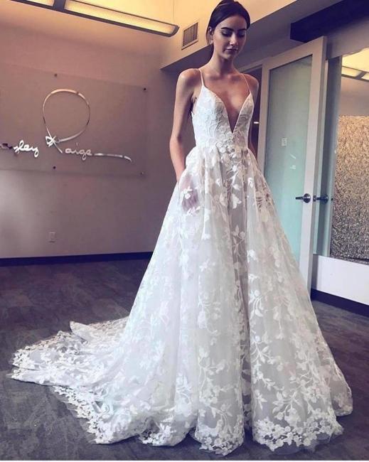 V-Neck Spaghetti Straps Tulle Applique Wedding Dresses | Bridal Gowns On Sale