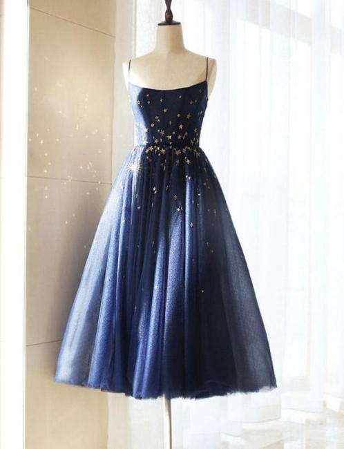 Luxury Flattering Soft Tulle Spaghetti Straps Short Elegant Prom Dress Online | Suzhoudress UK