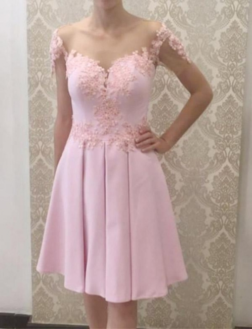 Glamorous Flattering A-line Appliques Short Sleeves Knee-Length Prom Dress UK on sale