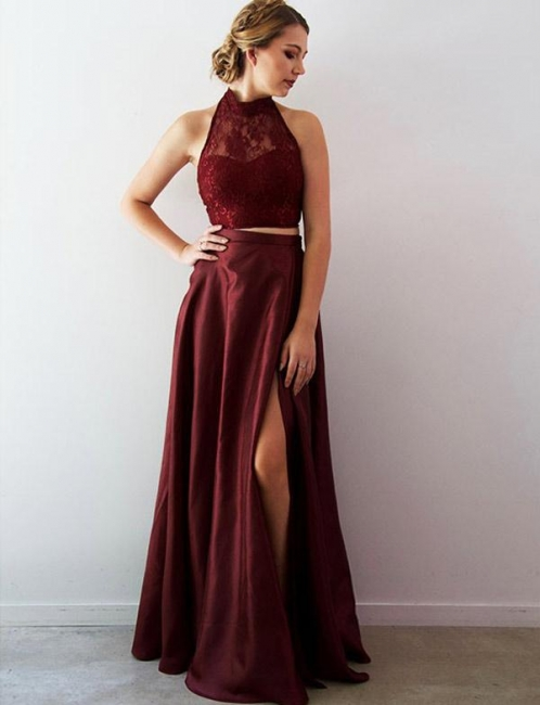 Tank Top Lace Flattering Split Front Long-Length Halter Elegant Prom Dress Online | Suzhoudress UK
