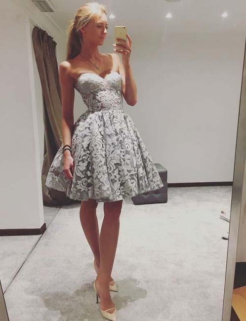 Modern A-Line Sweetheart Teenage Lace Mini Online Prom Dress Sale | Suzhoudress UK
