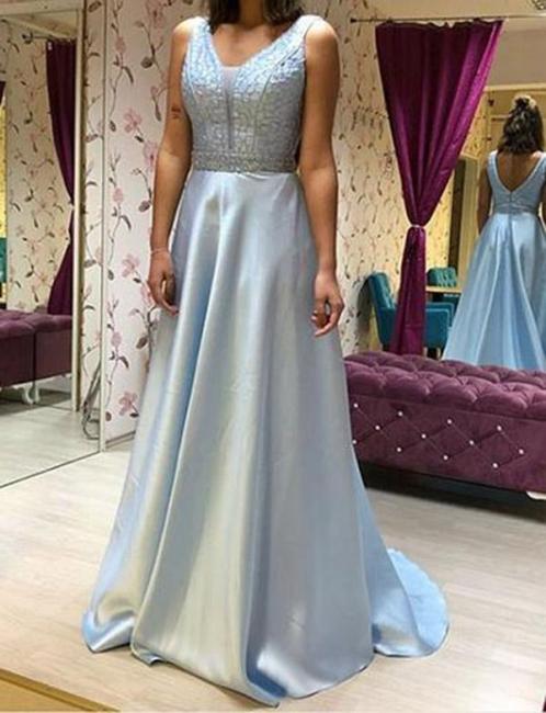 Chiffon Flattering Beading Trendy V-neck Sleeveless Long-Length Elegant Prom Dress Online | Suzhoudress UK