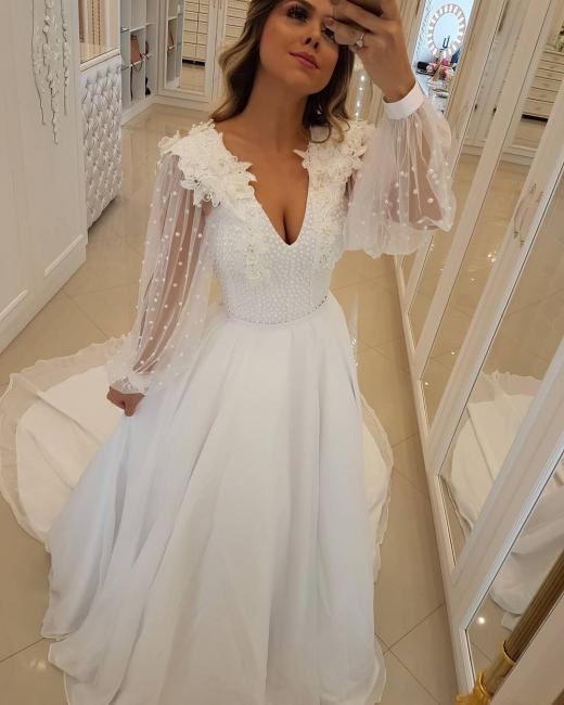 Fashion Long Sleeves Beading Tulle A-Line Flower Online Prom Dress Sale | Suzhoudress UK